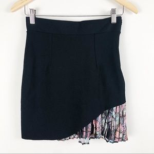 Zara black mini skirt with colorful pleating sz S